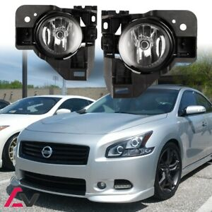 Clear Lens Black Housing Fog Light Lamp Kit With Wiring Fits 09-15 Nissan Maxima