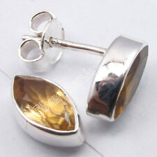 "925 Sterling Silver Fancy YELLOW CITRINE PERSONALISED Studs Earrings 3/8"""