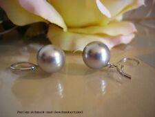 Ohrringe in Tahiti-Grau aus Muschelkernperlen 12mm, Brisur 925 Silber Geschenk