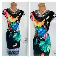 JOSEPH RIBKOFF Floral Stretchy Bodycon Dress Uk Size 14