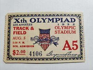 Orig 1932 Xth Olympics Ticket Track & Field Olympic Stadium Gen Admin 4106 NR