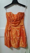 Women's Let's Fashion Orange Strapless Prom Dress Party Cocktail Size Large L