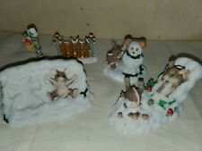 Fitz and Floyd Charming Tails Figurines Lot of 5 Adorable Christmas