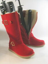 RED round toe comfortable winter mid-calf boots fur on top/inside .Size 10