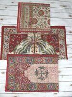 Red Flower Tapestry Fabric Boho Hippie Floral Runner Tablecloth Vtg 80's 90's