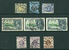Old China Hong Kong KEVII/KGV 9 x stamps with Nice Canton Bilingual CDS Pmks