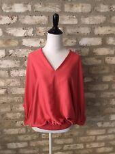 Diane VonFurstenberg Orange/pink Silk Top With Waistband And Dolman Sleeve S