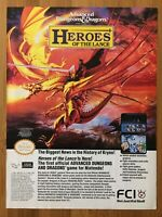 Advanced Dungeons & Dragons Heroes of the Lance NES 1990 Vintage Print Ad/Poster