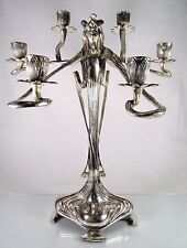 VINTAGE REPRODUCTION~ART NOUVEAU CANDELABRA~WMF INSPIRED~CASTILIAN PEWTER SILVER