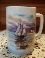 Vintage Otagiri Gibson Greeting Coffee Mug Ocean Sailboat Row Boat & Lighthouse