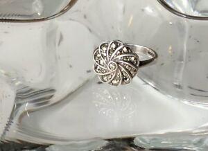 Pretty Solid Silver Marcasite Ring