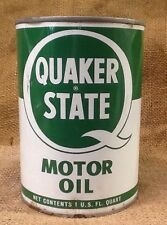 Vintage Full QUAKER STATE Red Top  Metal Motor Oil Can Unopened , Gas And Oil