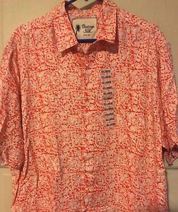 NEW Mens Polo Shirt Red Coral Tan Floral Hawaiian Shirt Aloha Silk XXL 2X NWT