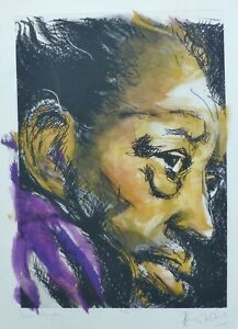 """RONNIE WOOD """" Duke Ellington """" JAZZ HAND SIGNED ROLLING STONES MIXED MEDIA"""