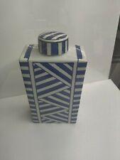 Decorative Vessel Blue And White Striped