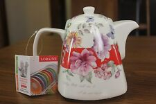 Loraine France Teapot White With Flowers New with Tag