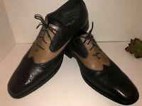 Made Cam Newton Mens Wing Tip leather Dress Shoe 2 tone Blk And Brown Size 11 D
