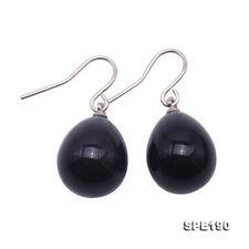 925 Sterling Silver Hook 12x15mm Black Drip-Shape Seashell Pearl Earring Dangle