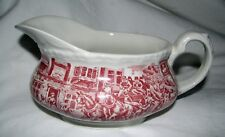 GRAVY BOAT red transferware COACHING TAVERNS Made in England horses dog