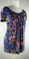 FAT FACE SHORT SLEEVED MULTICOLOURED  FLORAL TOP SIZE 10