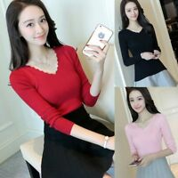 Korean Women V Neck Stretch Basic Knit Shirt Top Slim Long Sleeve Sweater Blouse