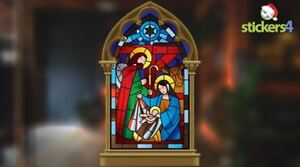 Stained Glass Style Double-Sided Xmas Window Cling
