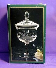 """VINTAGE CRYSTAL CANDY DISH HAND MOUTH BLOWN CRYSTAL SIZE 8.5"""" T BLOSSOMS PATTERN"""