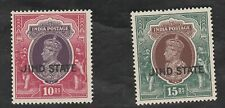 *1938 India Convention states-Jind opt on KGVI 10r & 15r, u/m, Sc 148, 149