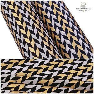 "100% Cotton Lawn, Geometric Chevron Gold Gilded Foil Navy Black High Quality 58"""