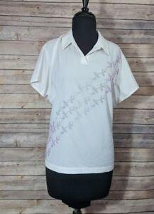 Nike Womens White Golf Polo Drifit Large Shirt 12-14