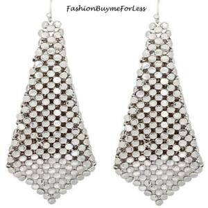 BOHO Retro Women Jewelry Square Mesh Rhodium Chainmail Sheets Dangling Earrings