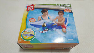 Inflatable Polygroup Summer Escapes 3D Shark Ride on Pool Toy New In Box
