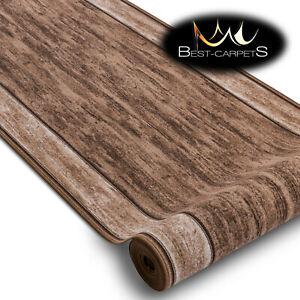 Modern HALL Runner Rugs 'RAMA' brown NON-slip Stairs Width 67-120cm extra long