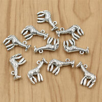 10x Cartoon Giraffe Charm Pendant Fashion Silver for Necklace Jewelry DIY Making