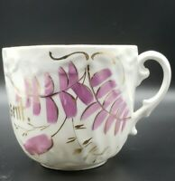"""Germany 2 3/4"""" H Porcelain """"A Present"""" Pink Luster Flowers Antique"""