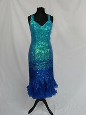 Sequin blue dress, for stage,theatre, panto, drag, dame, cruise, Mermaid, 1920s