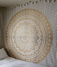 Indian Large Mandala Gold Wall Hanging Hippie Home Decor Bedspread TAPESTRY