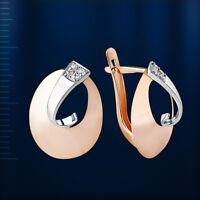 Goldohrringe mit CZ Rose Rotgold Weissgold 585 Neu Glänzend Rose gold Earrings