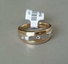 14K TWO TONE GOLD DIAMOND WEDDING BAND RING NOS