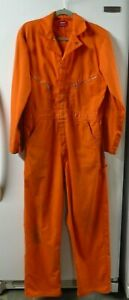 Dickies Men's Orange Jump Suit Coverall Size 42 Long Zipper 50% Cotton Used Work