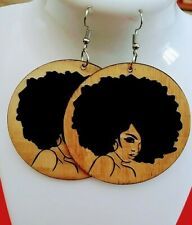 Afro hair African womanStatement Wood Carved Earrings black /beige new