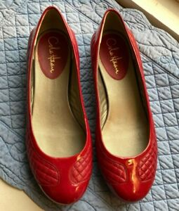 Cole Haan New Ballet Flat Quilted Red Patent Leather Size 7.5 dark  pink