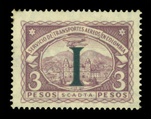 """COLOMBIA 1923 AIRMAIL - SCADTA - ITALY """"I"""" handstamp 3p vlt Sc# CLIT36 mint MLH"""