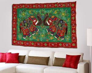 Handmade Cotton Embroidered Red Elephant Wall Hanging Home Decor Tapestry India