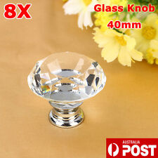 8X 40mm Clear Crystal Glass Wardrobe Screw Knobs Cabinet Drawer Door Handle SGG
