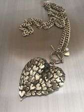 Betsey Johnson Antique Goldtone THROWBACK TO VINTAGE Heart Long Toggle Necklace