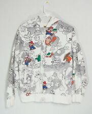 Super Mario 3 Mens Size M Hoodie Sweatshirt White Full Zip jacket Hood