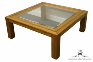 """CONANT BALL Contemporary Modern Style 38x38"""" Square Glass Top Accent Coffee T..."""