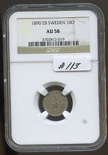 Sweden 1890Eb 10 Ore (#113) Ngc Au58. Carefully Check out the Photos.