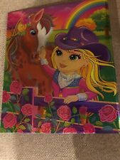 Vintage Lisa Frank 3 Ring Hard Binder Rainbow Chaser Horse Cowgirl Girl Shimmery